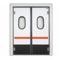 Double-insulating swinging door with pvc door frame