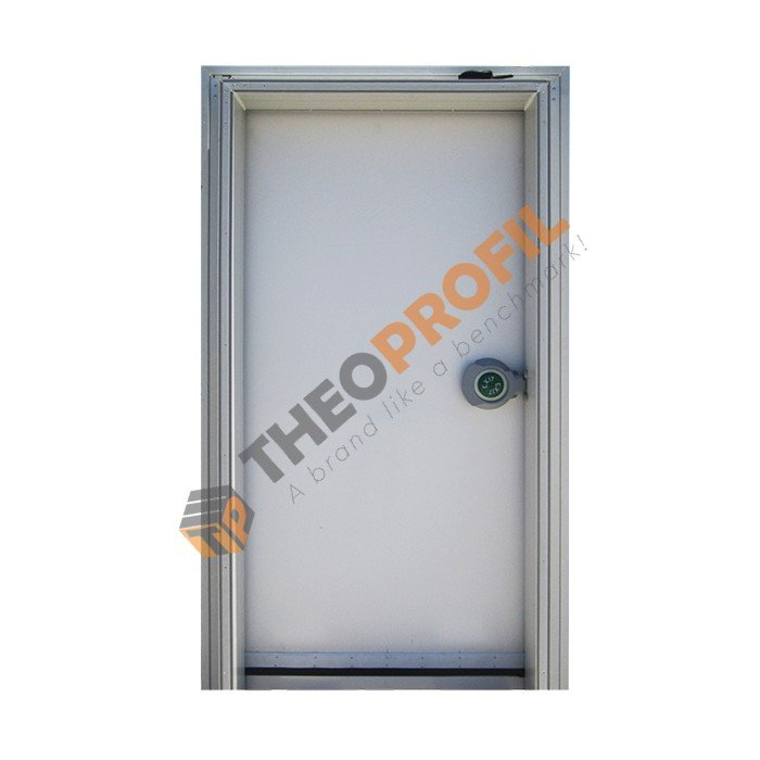 Hinged door with sweeper gasket