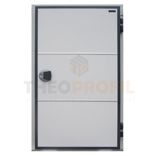 Coldroom hinged freezer door with sweeper gasket