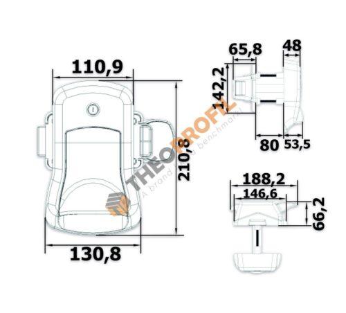 Lockable handle for hinged door - drawing